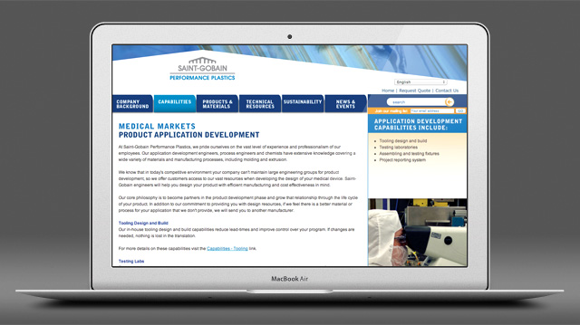 Saint-Gobain Medical Products Group website by Liz Seip Design