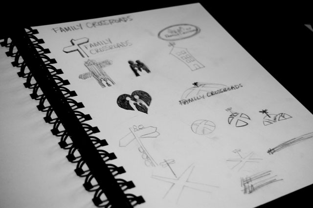 Family Crossroads logo sketches by Liz Seip Design
