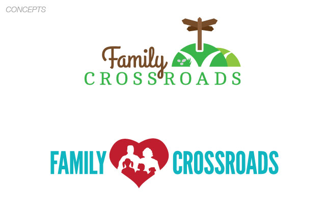 Family Crossroads logo options by Liz Seip Design